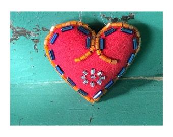 Valentines Gift Heart Ornament - Personalized Gift - Personalized Valentine Heart - Beaded Heart - Decorative Heart - Folk Art Inspired