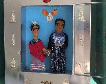 Nina's Frida Kahlo & Diego Rivera Mexican Tin Shrine - Nina's Frida Kahlo and Diego Rivera Dolls - Folk Art Dolls - OOAK