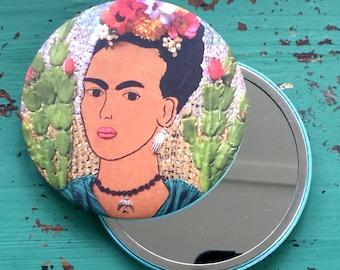 Frida Kahlo Inspired Pocket Mirror - Frida Inspired Pocket Mirror - Mexico Art Inspired - Gift - Holiday Gift - Stocking Stuffer
