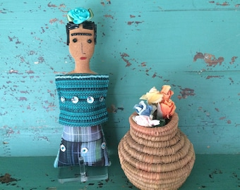 Nina's Frida Kahlo Doll - Nina's Frida Doll - Folk Art Doll - Mexican Art Inspired - Soft Sculpture Doll