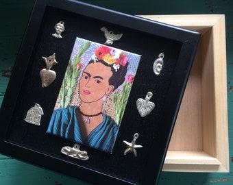 Frida Kahlo Inspired Decorative Box with Milagros - Frida Inspired Jewelry Box - Frida Kahlo Gift Box - Milagro Box - Mexico Art Inspired