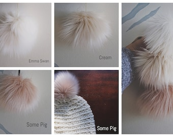 POMS MADE to ORDER! Sizes X-S, M, L, X-L Faux Fur Poms (Yarn tie, elastic band and sew-on snap options)