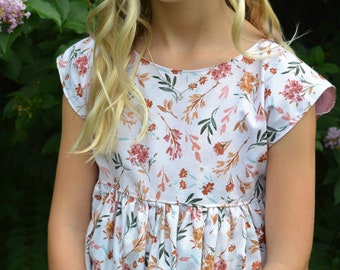 Ivory Floral Dress for Girls, Pink and White Top or Floral Romper for Fall, Back to School Photos, Pumpkin Patch Outfit, Matching Sister Set