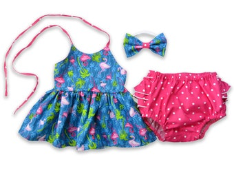 Flamingo Outfit for Girls, Summer Outfit for Girls Tank Top and Ruffled Bloomers, Pink and Blue Tropical Top and Bottoms Set Hot Pink Shorts