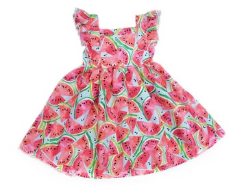 Girls Watermelon Party Dress with Ruffles, One in a Melon and Twotti Frutti Birthday Party Outfit