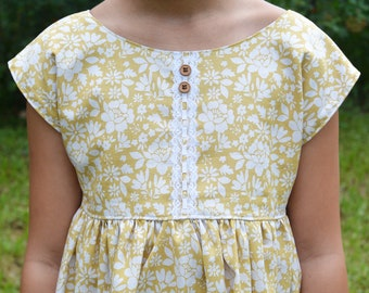 Marigold Floral Dress for Girls, Yellow and White Top, Yellow Romper for Fall, Back to School Photos, Pumpkin Patch Outfit, Sister Set