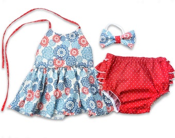 Patriotic Floral Outfit for Girls for Memorial Day or 4th of July with Matching Red Bloomers with Ruffles, Patriotic Top and Bottoms