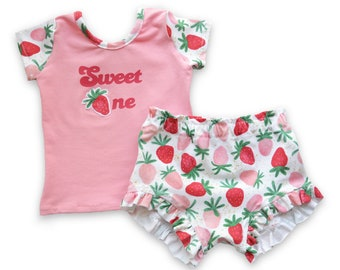 Sweet One Birthday Outfit with Strawberries, Two Sweet or Berry First Birthday Shirt for Girls, Summer Outfit with Berries