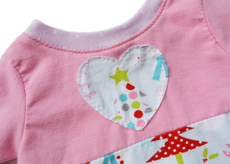 Christmas Trees Baby Clothes Hearts Top Pink and Aqua Holiday Top Infant Girl Toddler Girl Winter Top Pink Pink Holiday Top Baby Girl