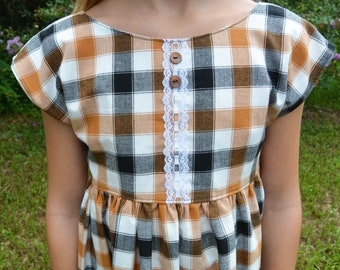 Rust and Black Plaid Dress for Girls, Orange and Black Fall Top or Romper, Back to School Photos, Pumpkin Patch Outfit, Matching Sister Set