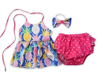 Pineapple Outfit for Girls, Colorful Fruit Top and Bottoms Set, Summer Outfit for Girls Tank Top and Ruffled Bloomers Hot Pink Shorts