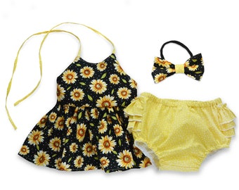 Sunflower Outfit for Girls, Black and Yellow Floral Top and Bottoms Set, Summer Outfit for Girls Tank Top and Ruffled Bloomers Yellow Shorts