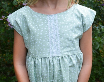 Sage and White Dot Dress for Girls, Light Green Top or Baby Romper for Fall, Back to School Photos, Pumpkin Patch Outfit, Sister Set