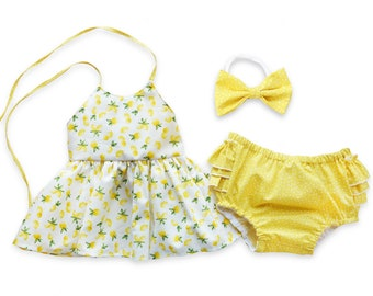 Lemon Outfit for Girls, Citrus Yellow and White Top and Bottoms Set, Summer Outfit for Girls Tank Top and Ruffled Bloomers Yellow Shorts
