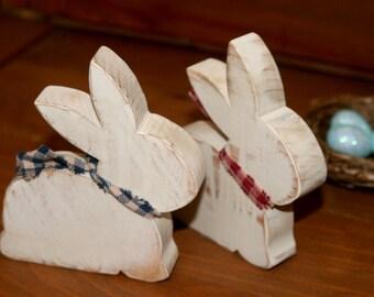 Wooden Bunny Pair Primitive Spring Decor