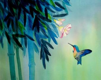 Hummingbird and Bamboo watercolor painting