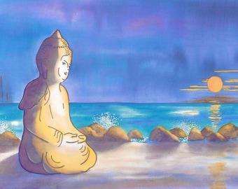 Buddha sitting on beach by the ocean