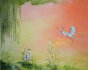 Herons on Dawn Lake