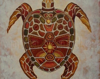 Mosaic Sea Turtle, Print of Original Painting 8x10 Abstract Colorful Jewels, Browns, Golds, Rust, Orange, Green