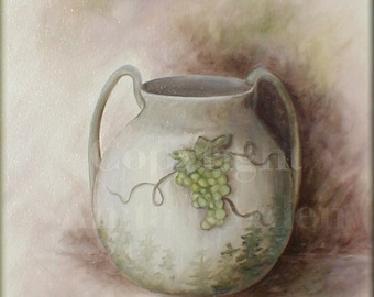 Pottery, Original Painting on Canvas Large 18 x 24  Still Life, Soft Muted Neutral Colors, Taupe, Green Grapes, Brown
