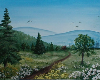 Peaceful Valley Original Painting Summer Scene on Heavy Watercolor Paper 9 x 12  Soft Cool Colors