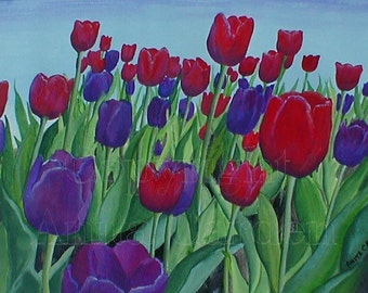 Tulips Print of Original Painting 8x10 Spring Floral, Beautiful Colors - Purple, Violet, Blue, Red, Green