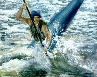 Kayaking Print of Original Painting Watercolor 8x10 White Water Rafting Kayak
