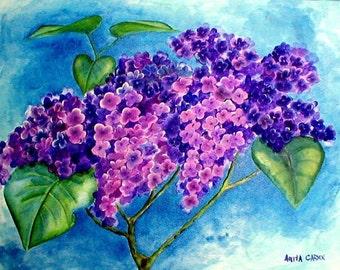 Lilacs Original Painting, Flowers 9x12 Beautiful Colors - Purple, Violet, Blue, Green