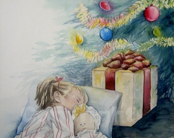 Christmas Dreams Original Painting Large 15x18 Little Girl with Doll Sleeping Under Christmas Tree