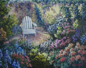 Secret Garden, Print of Original Painting, 8x10, Flowers, Chair, Very Colorful
