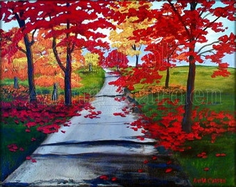 Autumn Road, Print of Original Painting, 8x10 Modern, Contemporary, Colorful, Red, Yellow, Bright Fall Colors