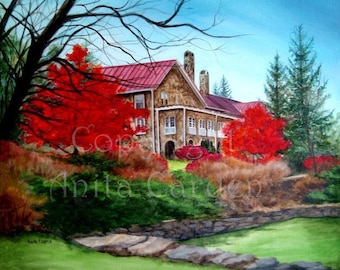 Mountain Lake Hotel in Fall, Dirty Dancing, Kellerman's Resort, Autumn, Colorful, Red, Print of an Original Painting by Anita Carden 8 x 10