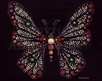 """Mosaic Butterfly Print of Original Painting, 8"""" x 10"""""""