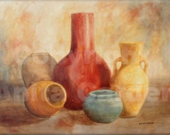 Pottery, Original Painting on Canvas,  Large 18 x 24  Still Life, Colorful, Red, Yellow, Bright Warm Earthtone Colors