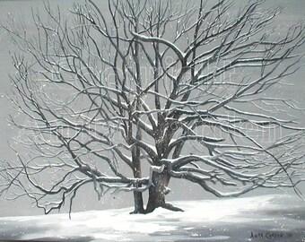Grand Old Oak in Winter, Print of Original Painting, 8x10, Snowy Winter Scene, 200 yr old Oak Tree, Black and White