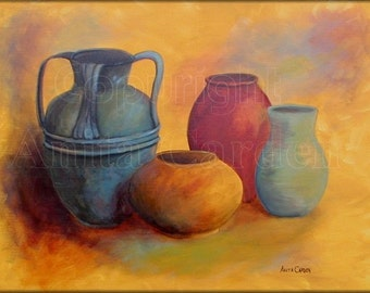 Pottery Original Painting on Canvas Large 18 x 24 Still Life, Modern, Contemporary, Colorful, Red, Yellow, Blue, Very Bright Colors