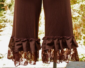 Earthy Brown Bamboo Lycra Bloomers with Chiffon Trim
