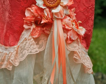 Peaches & Cream Gorgeous Up-Cycled Slip Skirt with Amber Resin Buttons
