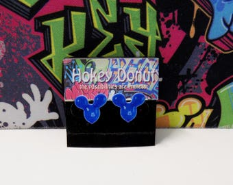 Disney Resort Blue Mickey Mouse Balloon Stud Earrings