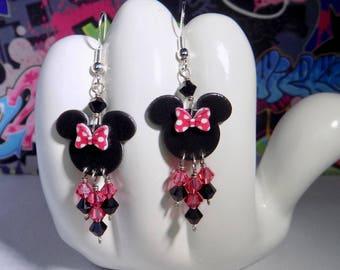 Minnie Mouse Pink Polka Dot Bow Dangle Earrings