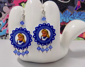 Alice in Wonderland Blue Floral Dangle Earrings