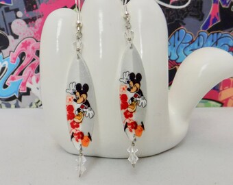 Surfing Mickey Mouse Hawaiian Surfboard Dangle Earrings