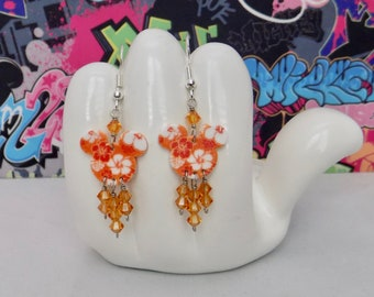 Mickey Mouse Orange Hawaiian Hibiscus Double Sided Print Dangle Earrings