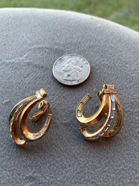 Crown Trifari baguette clip earrings