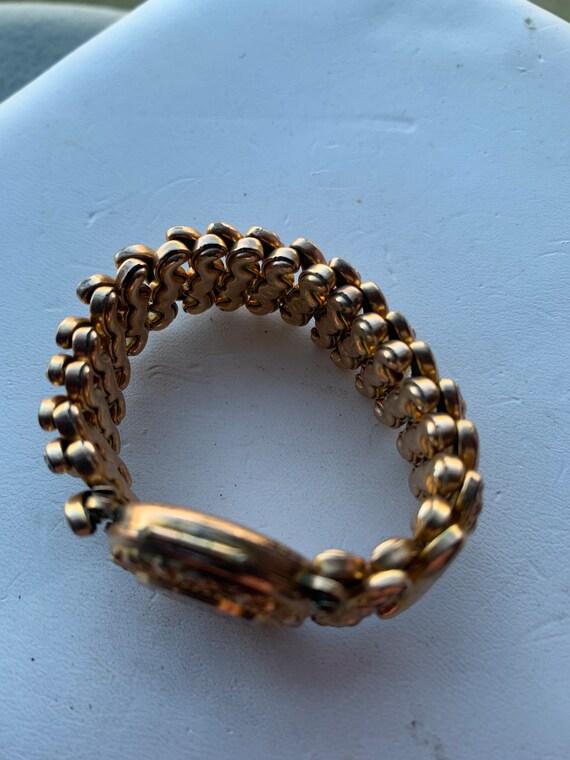 Vintage metal cuff Tex pearl sweetheart bracelet