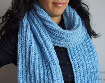 Chunky knit scarf in Bright Blue, Wool knit scarves, Warm winter scarf