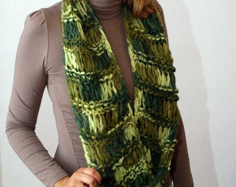 Organic Wool Infinity Scarf Drop Stitch Hand Knitted in Shades of Green