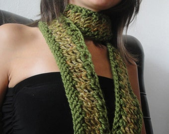 Skinny Knit Scarf in Olive Green Forest Neck Warmer Scarflette with Wool Yarn Euro Week FREE SHIPPING