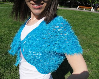 Turquoise Blue Hand Knit Shrug/ Wrap / Bolero/ Capelet size S/M Clothing, Vest, Jacket, Women, Cardigan