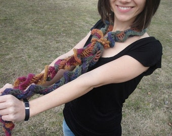 Ruffle Mohair Crochet Skinny Scarf Lightweight in Autumn Colors SALE